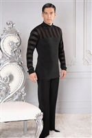 Style MS39 Turtleneck Tunic with Stripe Inset