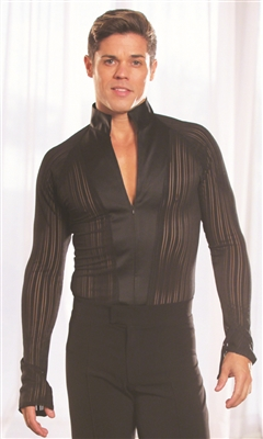 Style MS7 Mandarin Collar Shirt Black Stripe - Men's Dancewear | Blue Moon Ballroom Dance Supply