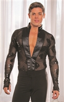 Style MS7 Mandarin Collar Shirt Black Sequin