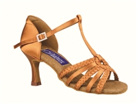 Style DA Madison Dark Tan Satin Open Toe Shoe - Shoes | Blue Moon Ballroom Dance Supply