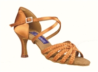 Style DA Miami Dark Tan Satin Open Toe Shoe - Shoes | Blue Moon Ballroom Dance Supply