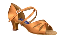 Style DA Phoenix Dark Tan Satin Open Toe Shoe - Shoes | Blue Moon Ballroom Dance Supply