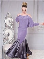 Style S008-Long Charmeuse Godet Ballroom Skirt - Women's Dancewear  | Blue Moon Ballroom Dance Supply