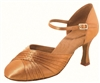 Dancefeel R346  Tan Satin Ballroom Shoe - Women's Dance Shoes | Blue Moon Ballroom Dance Supply