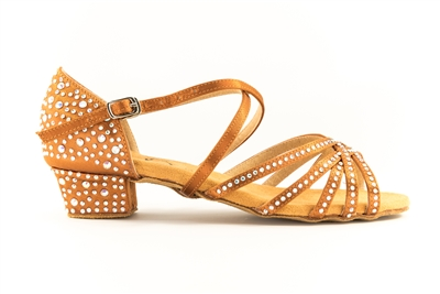 Style Charm Rhinestoned Tan Satin Low Heel Shoe - Gfranco Dancewear | Blue Moon Ballroom Dance Supply