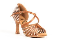 Style New Elite Rhinestoned Tan Satin Latin Shoe - Gfranco Dancewear | Blue Moon Ballroom Dance Supply