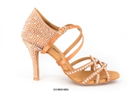 Style Mystique Rhinestoned Tan Satin Latin Shoe - Gfranco Dancewear | Blue Moon Ballroom Dance Supply