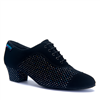Style CK Line Black Nubuck/Silver Hologram Practice Shoe | Blue Moon Ballroom Dance Supply