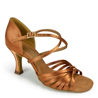 Style IDS Fiorella Tan Satin - Women's Dance Shoes | Blue Moon Ballroom Dance Supply