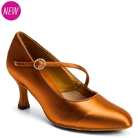 Style IDS ICS Round Toe Single Strap Tan Satin - Women's Dance Shoes | Blue Moon Ballroom Dance Supply