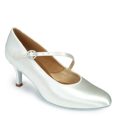 Style IDS ICS Round Toe Single Strap White Satin - Women's Dance Shoes | Blue Moon Ballroom Dance Supply