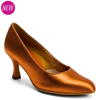 Style IDS ICS Round Toe Tan Satin - Women's Dance Shoes | Blue Moon Ballroom Dance Supply