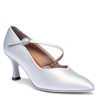Style IDS ICS SuperStar Single Strap White Satin - Women's Dance Shoes | Blue Moon Ballroom Dance Supply