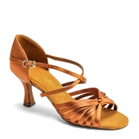 Style IDS L3006 Tan Satin Dansport Latin Dance Shoe | Blue Moon Ballroom Dance Supply