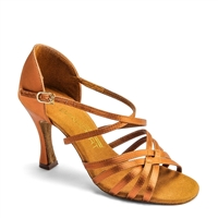 Style IDS L3007 Tan Satin Dansport Latin Dance Shoe | Blue Moon Ballroom Dance Supply