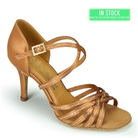 Style IDS Larissa-Cindy Sequin Tan Satin - Women's Dance Shoes | Blue Moon Ballroom Dance Supply
