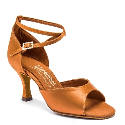 Style IDS Lorraine Tan Satin - Women's Dance Shoes | Blue Moon Ballroom Dance Supply