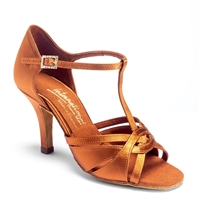 Style IDS Mia TBar Tan Satin - Women's Dance Shoes | Blue Moon Ballroom Dance Supply