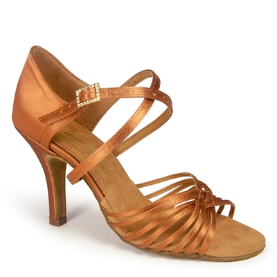 Style IDS Sara Tan Satin - Women's Dance Shoes | Blue Moon Ballroom Dance Supply