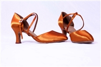 "Style JT2 Tan Satin 2.5""W Smooth Shoe"
