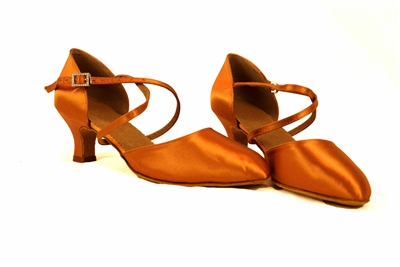 "Style JT2 Tan Satin 2.2"" W Smooth Shoe - JT & Tomas Collection 