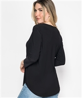 Flowy V-Neck 3/4 Sleeve Black Top - Ladies Casualwear  | Blue Moon Ballroom Dance Supply