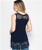 High-Low Lace Tank Top in Navy - Ladies Casualwear  | Blue Moon Ballroom Dance Supply