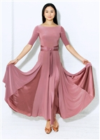 Style Alexa Ballroom Gown Dusty Rose - Dancewear | Blue Moon Ballroom Dance Supply