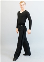 Style Aries Black Velvet Trim Mens Trouser