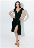 Style Bardot Ruffle Dress Black | Blue Moon Ballroom Dance Supply