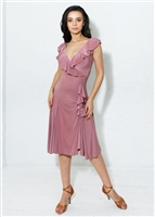 Style Bardot Ruffle Dress Dusty Rose