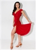 Style Bardot Ruffle Dress Red