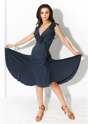 Style Bardot Ruffle Dress Steel | Blue Moon Ballroom Dance Supply