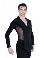 Style Brayden Black Mesh Latin Shirt - Men's Dancewear | Blue Moon Ballroom Dance Supply