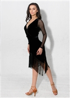Style Carmen Fringe Dress Black Velvet - Women's Dancewear | Blue Moon Ballroom Dance Supply