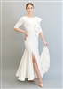 Style Federica Ruffle Ballroom Gown Ivory Satin - Dancewear | Blue Moon Ballroom Dance Supply