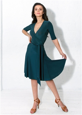 Style Klaudia Wrap Dress Green | Blue Moon Ballroom Dance Supply