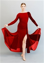 Style Marissa Red Velvet Ballroom Gown - Dancewear | Blue Moon Ballroom Dance Supply