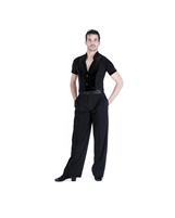 Style Theodore Black Velvet Short Sleeve Shirt - Men's Dancewear | Blue Moon Ballroom Dance Supply