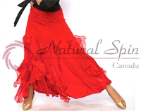 Style NS Red Ruffled Ballroom Skirt