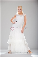 Style NS BD02 White Tiered Ruffle Ballroom Dress