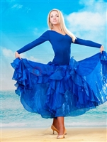 Style NS BD08 Blue Ruffled Ballroom Dress