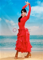 Style NS BD08 Red Ruffled Ballroom Dress