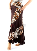 Style NS Leopard and Brown Ballroom Skirt