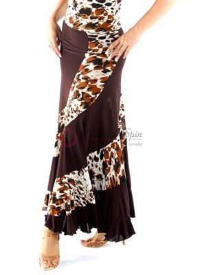 Style NS Leopard and Brown Ballroom Skirt | Blue Moon Ballroom Dance Supply
