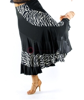 Style NS Zebra and Black Ballroom Skirt
