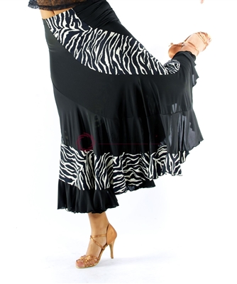 Style NS Zebra and Black Ballroom Skirt | Blue Moon Ballroom Dance Supply
