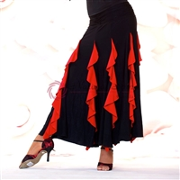 Style NS Black and Red Ribbon Skirt - Women's Dancewear | Blue Moon Ballroom Dance Supply