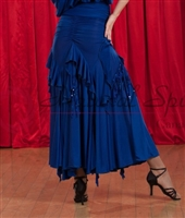 Style NS Blue Ruffled Ballroom Skirt - Women's Dancewear | Blue Moon Ballroom Dance Supply