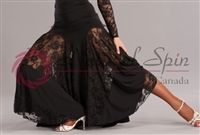 Style NS Black Lace Panel Ballroom Skirt - Women's Dancewear | Blue Moon Ballroom Dance Supply